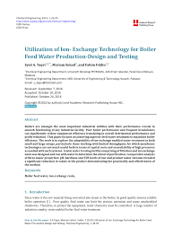 utilization of ion exchange technology for boiler feed water