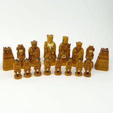 vintage japanese carved ivory chess set 32 pieces no board