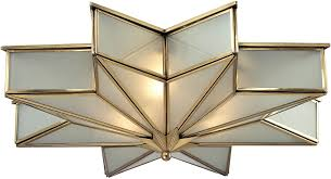 Art Deco Ceiling Lamp Elk Lighting 22011 3 Decostar Collection 3 Light Flush Mount