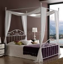 bedroom unique metal canopy bed with white curtains and beige