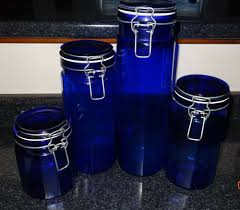 28 cobalt blue kitchen canisters reserved for sarah vintage