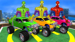 monster truck cartoon videos learn numbers monster truck color cars for kids w spiderman