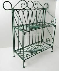 Folding Bakers Rack 2 Tiers Folding Metal Wire Bakers Kitchen Rack Shelf Green Color