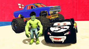 monster truck race track disney pixar cars vampire mcqueen vs monster truck race on the