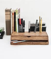vintage wooden handmade desk organizer pen holder cellphone stand