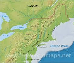 Map Of New England Coast by Northeastern Us Physical Map