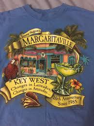 jimmy buffett margaritaville graphic t shirt blue front and back