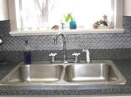 kitchen sink backsplash minimalist kitchen ideas with silver tin tile backsplash panel