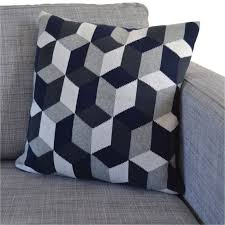 Knitted Cushion Cover Patterns Tumbling Blocks Cotton Knit Cushion Three Colourways By Sophie