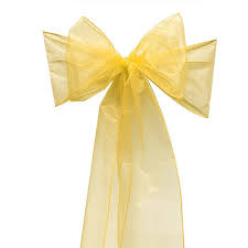 yellow chair sashes gold organza chair sash chair bow for spandex chair cover wedding