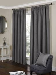 Luxury Grey Curtains Stylish Pencil Pleat Top Lined Pattern Pair Of Curtains Grey
