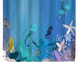 Vintage Mermaid Shower Curtain - octopus shower curtain etsy
