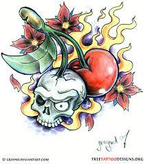 47 cherry skull tattoos ideas