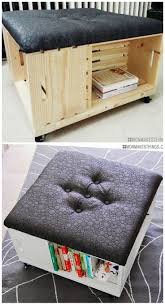 Diy Tufted Storage Ottoman by Best 25 Crate Ottoman Ideas On Pinterest Diy Storage Diy
