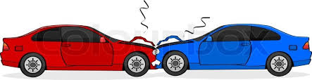 animated wrecked car cartoon illustration showing two cars after a head on collision