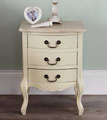 juliette shabby chic champagne 3 drawer bedside table french