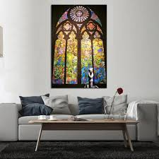 aliexpress com buy banksy art pray in church living room wall
