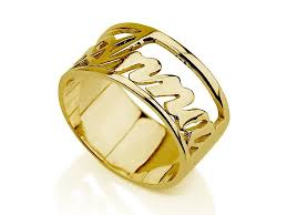 name ring gold 14k gold carrie style name ring jewelry persjewel