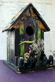 nice birdhouse halloween decoration crow witch cat and spider