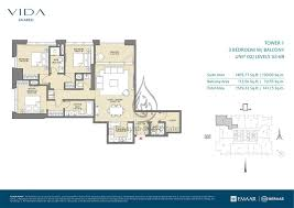 3 bedroom unit floor plans floor plan vida zaabeel 3 bedroom unit 6