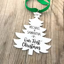 our first christmas ornament newlywed couple christmas