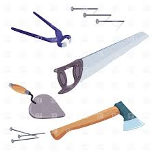 tools saw hatchet and trowel with pincers vector image 8020