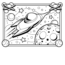 spaceman in the space coloring pages for kids printable free
