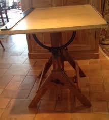 Antique Oak Drafting Table Vintage Oak Wood Industrial Drafting Table Desk Island Adjustable