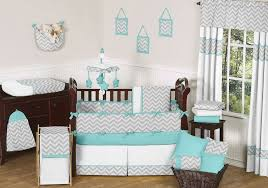 baby room zigzag pattern gray turquoise baby room accessories
