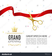 Shop Opening Invitation Card Format Grand Opening Design Template Ribbon Scissors Stock Vector