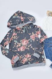 online women s boutique terry floral hoodie charcoal online women s fashion