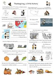 the origins of thanksgiving worksheet free esl printable