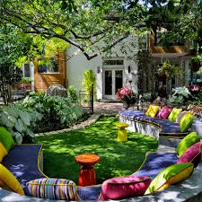 Backyard Seating Ideas by Decorating With Bold Colors Outdoor Living Backyard And Gardens