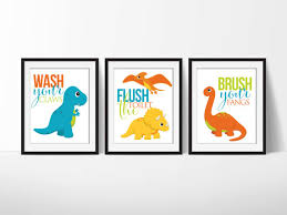 Dinosaur Bathroom Decor by Dinosaur Bathroom Signs 8x10 Prints Downloadable Art Set Of 3