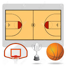 basketball field ball and objects royalty free cliparts vectors