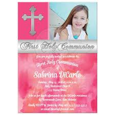 Holy Communion Invitation Cards First Holy Communion Invitation Photo Pink Peach Silver