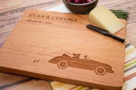 cutting board personalized groom vintage car custom wooden cutting board smiling tree