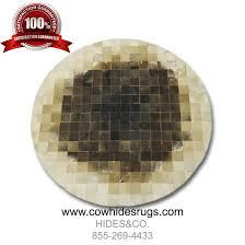 Brown Round Rugs by Brown Round Mosaic Cowhide Rug 6sq Ft