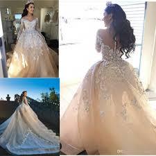 champagne lace ball gown wedding dresses off shoulder v neck long