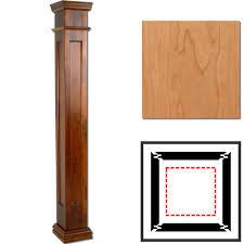 split plan cherry wooden columns square recessed panel interior columns