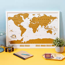Vintage World Map Canvas by Scratch Map Original World Map Poster