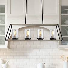 rustic glass kitchen cabinets xingqi rustic glass shade kitchen island light 4 light farmhouse linear pendant lighting hanging light fixtures for dining room antique white with