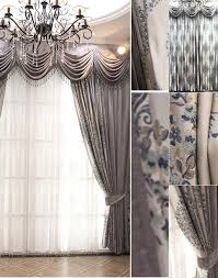Luxury Grey Curtains Custom Gray Jacquard Chenille Floral Window Curtain For Living