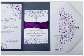 silver and white invitations purple pewter and white custom wedding invitations
