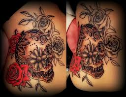 colur sugar skull and roses partly done by