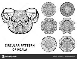 coloring book for adults the head of a koala with patterns