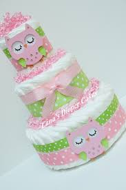 3 tier pink u0026 green owl diaper cake baby shower