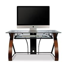 computer desk glass metal bell o cd8841 curved wood metal and glass computer desk amazon co