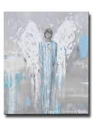 original angel painting abstract male guardian angel boy blue wall