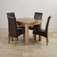 Oak Dining Table And Chairs Dorset Oak Dining Set 3ft Table With 4 Brown Chairs